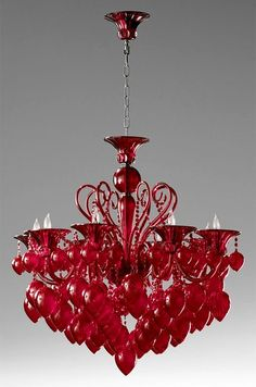 red chandelier...I'd love this in my dining room.