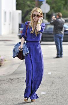 long dresses, maxi dresses, fall fashions, cobalt blue, emma roberts, outfit, the dress, street styles, blues