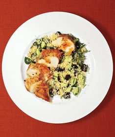 Spicy Orange Chicken With Cucumber Couscous recipe from realsimple.com #myplate #protein #vegetables #grains