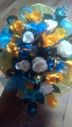 Turquoise/Yellow Bridal BLiNG wedding bouquet....$98.95.....The Sugar Shack General Store....Edgar, Nebraska