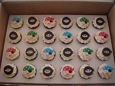 pirate cupcakes, ninja cupcakes, fondant