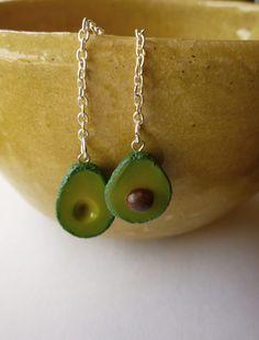 Avocado Polymer Clay Earrings by apricotfox on Etsy, $10.00 by Caroline Fox #polymer #clay #avocado #earrings #jewelry