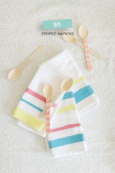#DIY Striped Party Napkins
