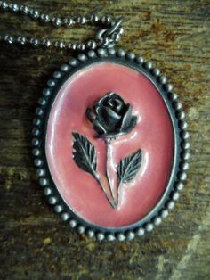 Old & UNUSUAL PiNk Enameled Silver Raised Rose made in Italy Necklace  Via Orphaned Treasures etsy