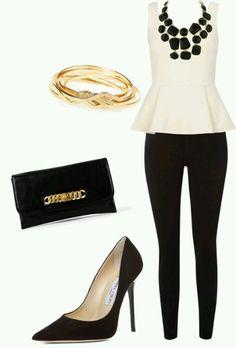 black necklace, work clothes, peplum tops, fashion chic, black white