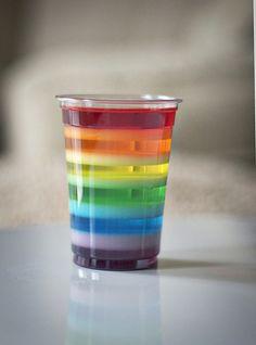 Rainbow Jell-o Cups
