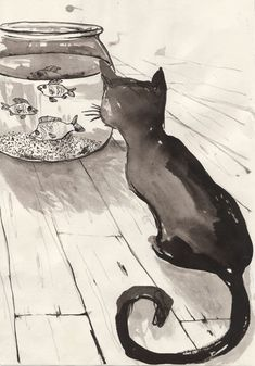 Poppy Heading - black and white cat art