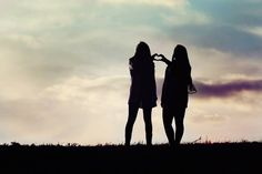 Best friend portrait - silhouette - heart picture - sibling photo pose - senior picture ideas for girls