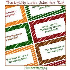 Thanksgiving Kids Lunch Jokes @ Capturing Joy with Kristen Duke