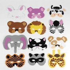 12 Asst. Kids Foam Animal Face Masks Zoo Farm Party