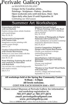 Exciting Art Workshops on Manitoulin Island in 2014
