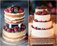 Naked wedding cake idea. Re-pin if you like. Via Inweddingdress.com #weddingcake