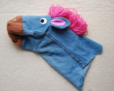 Pattern for making a stick horse/unicorn from old jeans