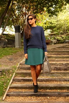 chunky knit, girly skirt and ankle boots