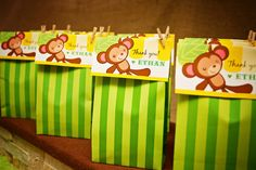 My son Ethan's 5th Birthday Party - Monkey Jungle Theme, party bags available in store.  Printable bag tags by Paper Glitter.  Party styled by Piece of Cake Parties & Celebrations. Photography by Lightbox Photography. monkey jungl, favor bags, jungle theme, birthday parties, theme parties, party bags, 5th birthday, parti bag, monkey parti