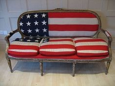 bench, red white and blue
