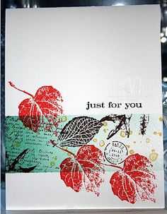 Studio M by Marian: Coral Leaf, Brown Leaf CARD, French Foliage