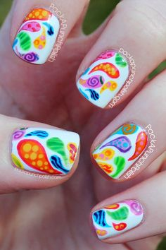 Colorful Patterned Paisley Nail Art