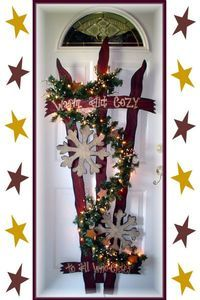 "Primitive Wood Crafts | Primitive Wood Craft Pattern ""Snowflake Fence"" 