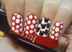 Adorable Minnie Mouse nails.