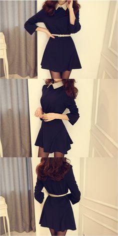 Simple black winter dress    #dress #kooding