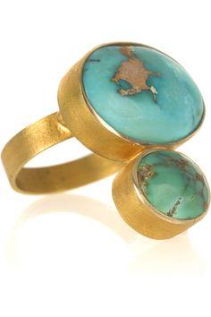 Halleh18-karat gold turquoise ring
