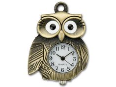 Antique Brass-Plated Vintage Style Big Eyed Owl Watch Pendant