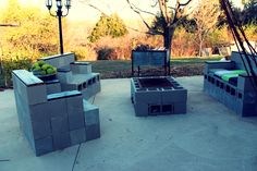I love the cement block patio furniture in this blog.