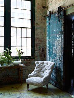 modern loft, antique chair, industrial door #home #decor #ideas