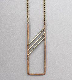 Grey Beaded Brass Necklace by Crow Jane Jewelry