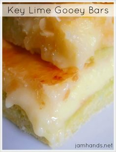 Key Lime Gooey Bars at Jam Hands:       1 (18 ounce) package key lime cake mix  1/2 cup butter, melted  3 eggs  1 (8 ounce) package cream cheese, softened  1 (16 ounce) box powdered sugar