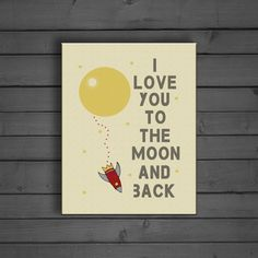 'I Love You To The Moon And Back' canvas wall art for Space themed nursery or toddler room.