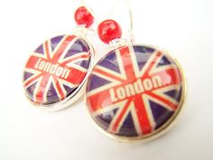 Union Jack Earrings  2012 Olympics Inspired Jewelry.