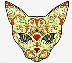 Day of the Dead Sugar Skull Cat Sticker
