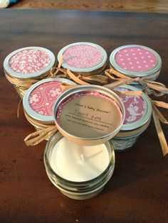 Twenty, 4 ounce pink baby shower soy candle favors. $85.00, via Etsy.