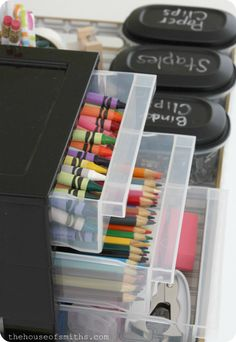 Organized Art Supplies - Homework Station - thehouseofsmiths.com homework station, art station for kids, work stations, craft supplies, school supplies, organ art, future kids, organize kids art supplies, colored pencils