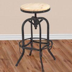 Vintage Bar Stool Industrial Metal Design Wood Top