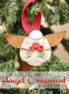 This Felt Angel Ornament tutorial comes with a free template! Wouldn't it be fun to incorporate some faux leather into this homemade ornament craft? It would add to the rustic vibe of this angel craft. felt angels, christmas crafts, free templat, angel crafts, homemade ornaments, angl, angel ornaments, christma craft, ornament crafts