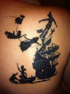 another silhouette peter pan tattoo