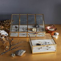 Glass Shadow Boxes to store and beautifully display jewelry #westelm