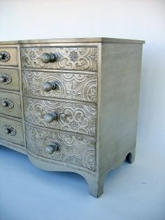 diy furniture, old dressers, furniture redo, cabinet, paint, textured walls, antique silver, drawer, emboss wallpap