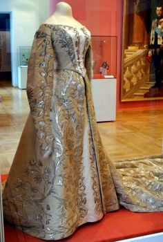 Silver-embroidered formal court dress of HIH Grand Duchess Xenia, sister of Tsar Nicholas II