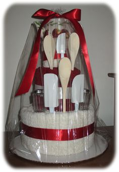 towel cakes, kitchen suppli, gift idea, hand towel, kitchen tool, housewarming gifts, bridal shower cakes, wedding gifts, bridal showers