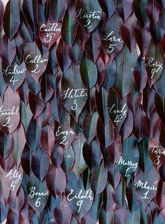 jewel-toned leaf escort cards