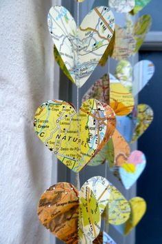 Map decoration - but with books or other shapes... estes park, paper garlands, birthday parties, wedding decorations, paper hearts, birthdays, christmas, map, home parties