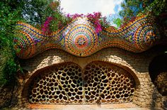 Curious Places: Ballena Mexicana - The Mexican Whale House (Mexico) - love the mosaics and grillwork, even though it does look like a belly dance bra for the three breasted Martian woman.