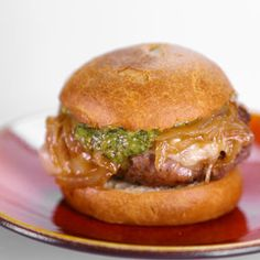 Prosciutto Wrapped Gruyere Burger with Pesto Aioli