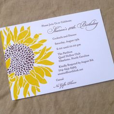 Sunflower birthday invitation. Letterpress printed in sunny yellow and chocolate brown inks on cotton paper. Wouldn't this make a great fall wedding invitation?