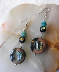 """Abalone Shell Inlaid"" pierced earrings"