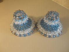 $10.99 Arts and Crafts Safety Pin Candle Holders Blue by GrandmasOldAttic, $10.99